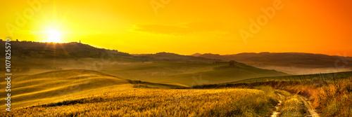 Deurstickers Honing Tuscany wheat field panorama at sunrise