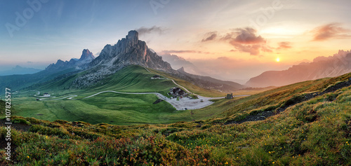 Mountain nature panorama in Dolomites Alps, Italy. Wallpaper Mural