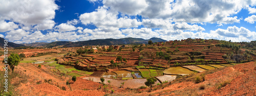 Staande foto Bleke violet Beautiful panorama of the landscape of Madagascar with rice plantations and a nice cloudscape