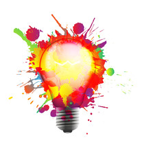 Light Bulb Made Of Colorful Grunge Splashes. Creativity Concept