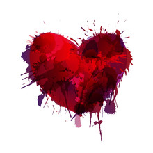 Heart Made Of Colorful Grunge Splashes