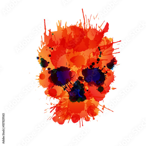 In de dag Aquarel schedel Skull made of colorful splashes