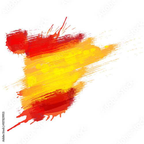 Fotografie, Obraz  Grunge map of Spain with Spanish flag