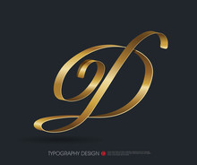Ribbon Typography Font Logo Type With Glossy Gold Decorative Silk D Letter