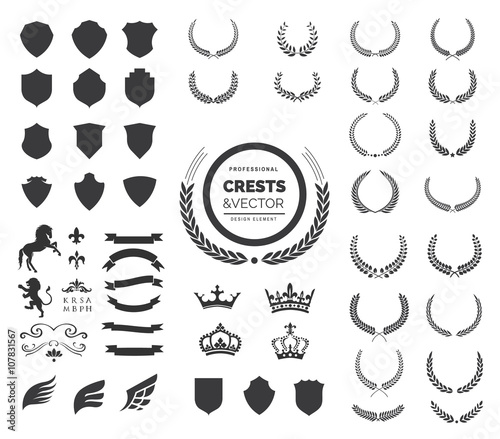 Cuadros en Lienzo  Crest logo element set, Coat of arms, Set of award laurel wreaths and branches ,vector illustration