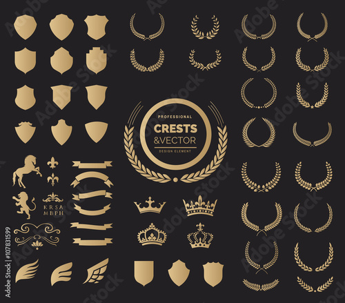 Crest logo element set, Coat of arms, Award laurel wreaths and branches vector illustration. Wall mural