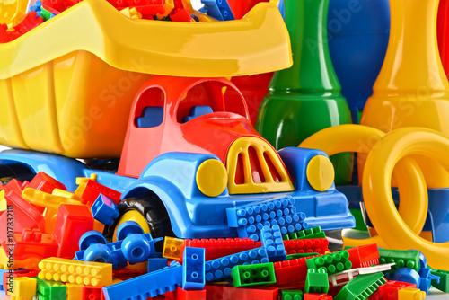 Fotografie, Obraz  Composition with colorful plastic children toys