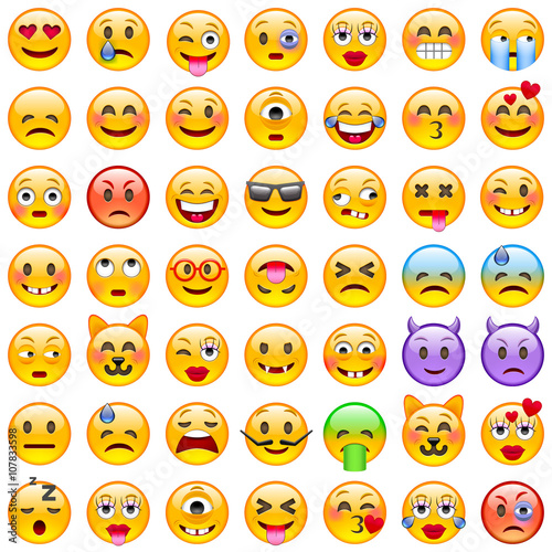 Photo  Set of Emoticons. Set of Emoji. Smile icons