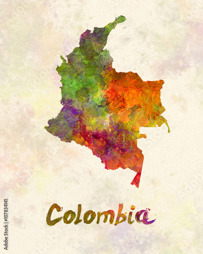 Colombia in watercolor Canvas Print
