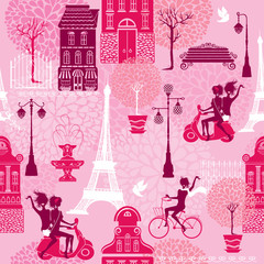 Tapeta Seamless pattern with girls riding on scooter and bicycle, house
