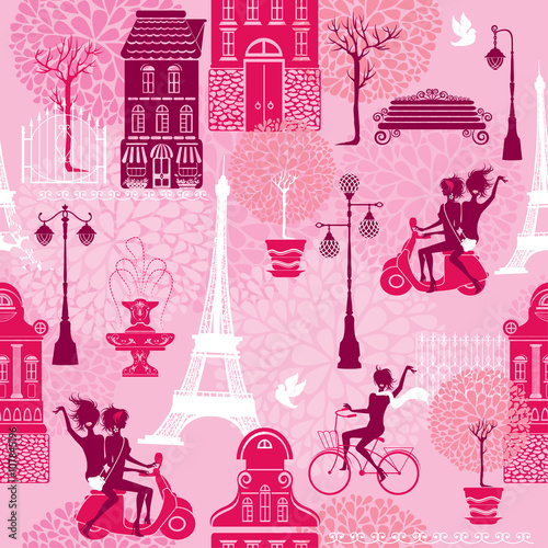 Cotton fabric Seamless pattern with girls riding on scooter and bicycle, house