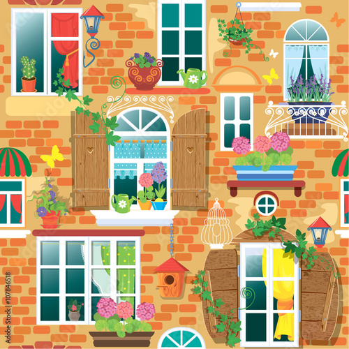 Spoed Foto op Canvas Graffiti collage Seamless pattern with Windows and flowers in pots. Summer or spr