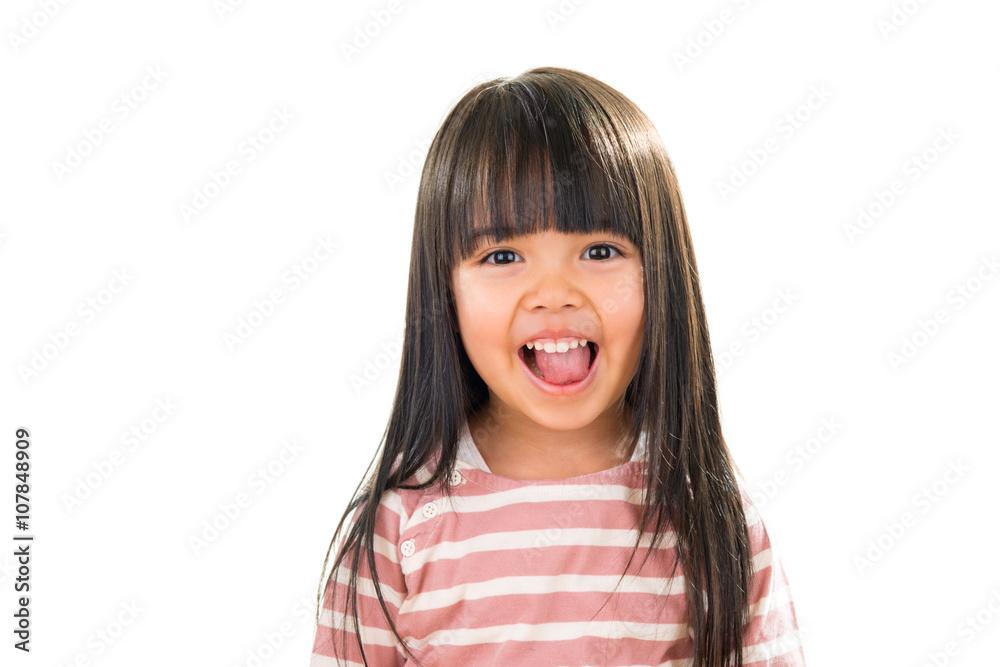 Fototapety, obrazy: Asian smiling little girl portrait isolated on white