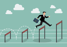 Businessman Jumping Higher Over Hurdle