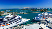 MIAMI - FEBRUARY 27, 2016: Cruise Ships Docked In Miami Port. Th