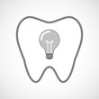 Line art tooth icon with a light bulb