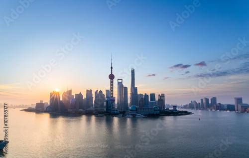 Foto op Aluminium Shanghai charming shanghai skyline in sunrise