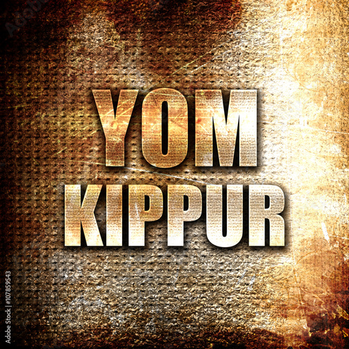 Obraz na płótnie yom kippur, written on vintage metal texture