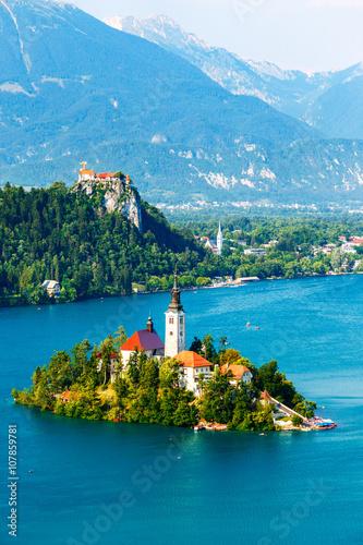 Fototapeta Bled with lake in summer, Slovenia