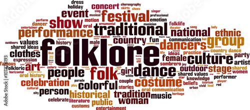 Photo Folklore word cloud concept. Vector illustration