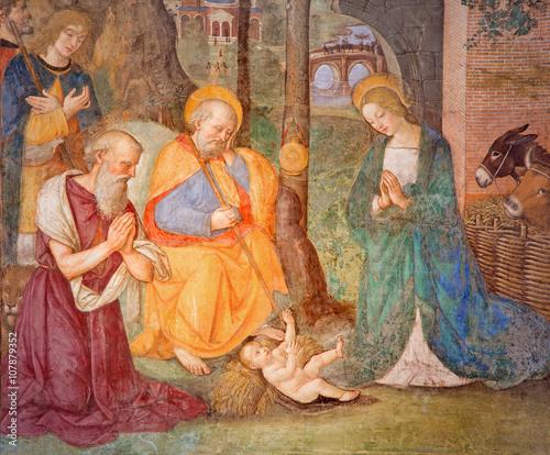 Zdjęcie XXL Rzym - Fresk Narodzenia z św Jerome Bernardino Pinturicchio (1488 - 1490) w kaplicy Rovere w kościele Basilica di Santa Maria del Popolo.