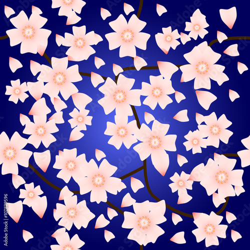 Keuken foto achterwand Vlinders in Grunge Seamless pattern with sakura flowers