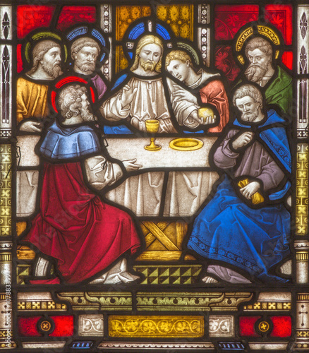 Fotografia  Rome - The Last Supper on the windowpane of All Saints' Anglican Church by workroom Clayton and Hall (19