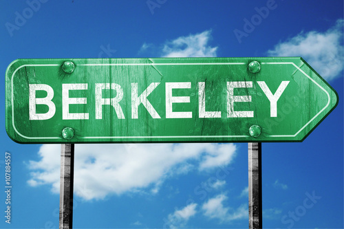 Canvas Print berkeley road sign , worn and damaged look