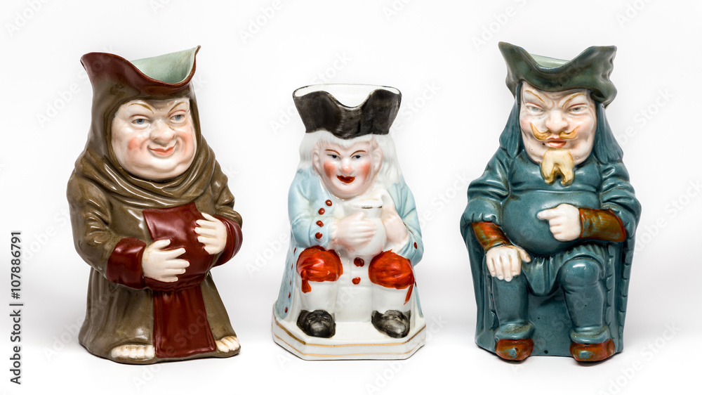 Fototapety, obrazy: Three vintage Toby jugs on white background