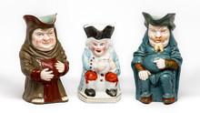 Three Vintage Toby Jugs On Whi...