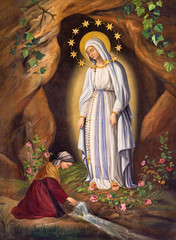 NaklejkaRome - The Appearance of Virgin to st. Bernadette in Lourdes by unknown artist (1873) in church Chiesa di Santa Maria in Aquiro.
