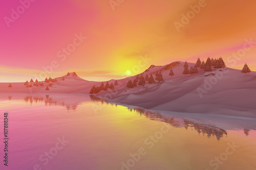 Sunset, a beautiful landscape, trees, calm waters and a colored sky.