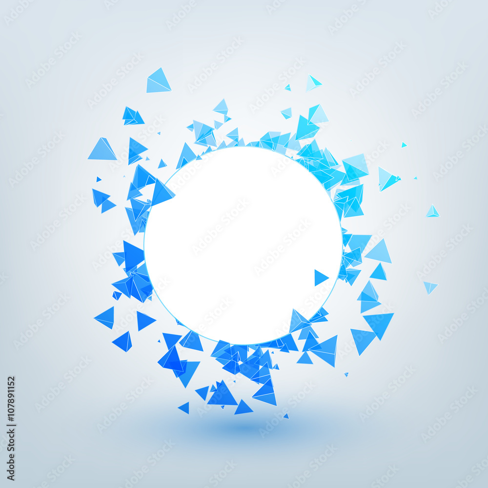 Vector polygonal background. Illustration of abstract shapes with white circle. Background design for banner, poster, flyer.