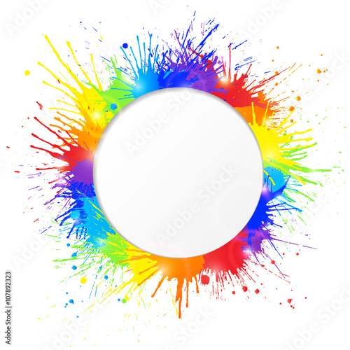Colorful paint splashes frame with round cutout for text. Vector illustration.