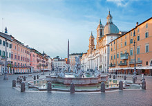 ROME, ITALY - MARCH 12, 2016: Piazza Navona In Morning And Fountain Of Neptune (1574) Created By Giacomo Della Porta And Santa Agnese In Agone Church