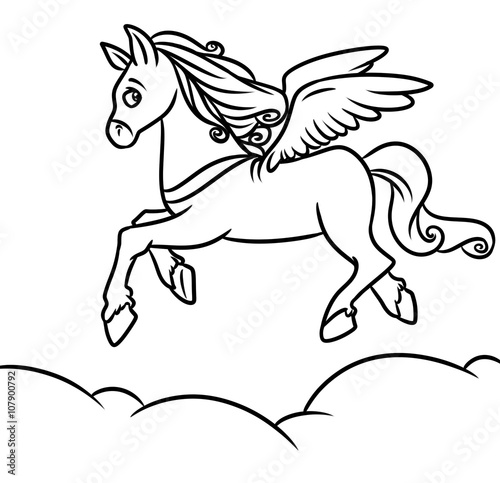 Flying Horse Pegasus Coloring Pages Cartoon Illustration Stock Illustration Adobe Stock
