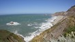 Wide angle View of Ocean by the Cliff in the California Coast line