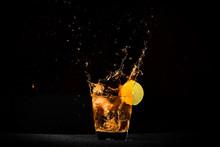 Verre De Whisky Avec Du Citron
