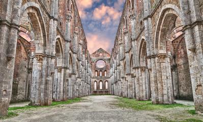 Medieval abbey of San Galgano in Siena, Tuscany, Italy