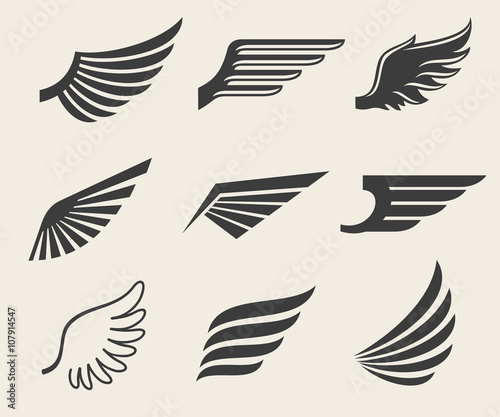Foto Wings vector icons set