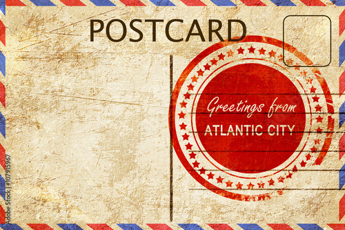 Fotografia  atlantic city stamp on a vintage, old postcard