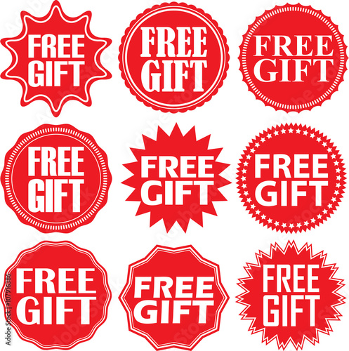 Free gift red label. Free gift red sign. Free gift red banner. V Wall mural