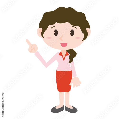 Fotografia, Obraz  young woman cartoon character pointing hand sign clip art
