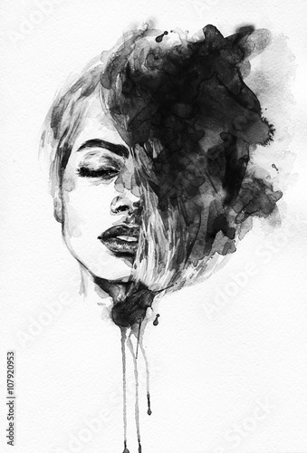 Garden Poster Watercolor Face Woman face. Fashion illustration