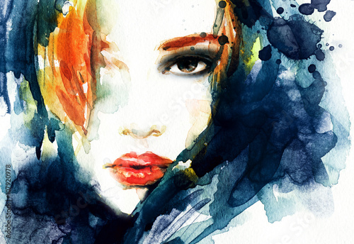 Recess Fitting Watercolor Face Woman face. Fashion illustration