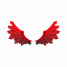 Red Wings Of Devil Icon, Carto...