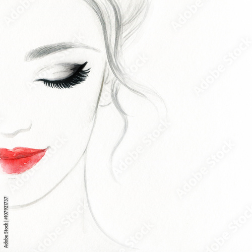 Poster Portrait Aquarelle beautiful woman face. colorful makeup . abstract watercolor. fashion illustration