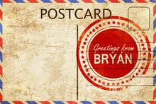 Bryan Stamp On A Vintage, Old Postcard