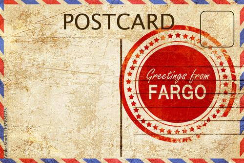 Fargo Stamp On A Vintage Old Postcard