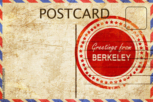 Canvas Print berkeley stamp on a vintage, old postcard